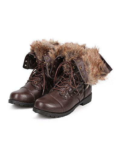 Bumper DB23 Women Fur Foldover Quilted Round Toe Combat Boot Brown bTUftk