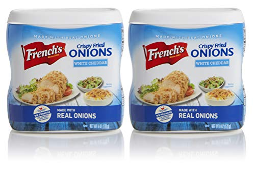 Frenchs White Cheddar Crispy Fried Onions, Certified Kosher, Made in the USA, 6 oz (Pack of 2)