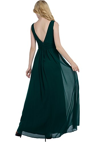 Neck Abendkleid Ballkleid lang Ivydressing aermellos V Chiffon Rueckenfrei Elegant Linie A Damen Dunkelgruen Falte Dunkelgruen Promkleid xgBgw0qAS