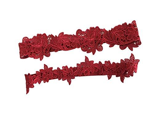 YuRongsxt Flower Leaf Style Garter Set Wedding Garter Set Bridal Garter G08 (Burgundy)