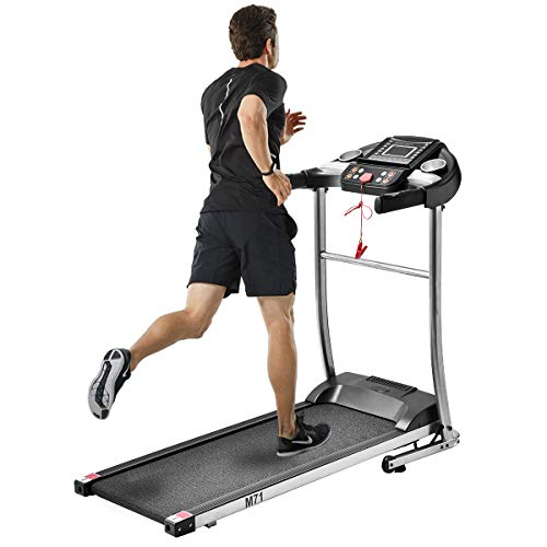 Julyfox Home Folding Treadmill Running Machine, 1.5HP Motorized Electric Treadmill Walking Jogging Home Exercise Machine W/Safety Key Heart Rate Monitor Cup Holder Quiet-Silver