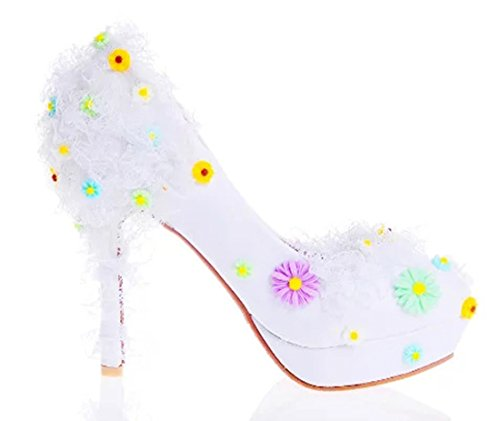 Pumps Party TDA Applique Stiletto Wedding 12cm Dreamlike Dress White Heel Women's xC1pFqO