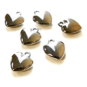 Linpeng 18X20MM Puffy Heart Shape Silver Plated Plastic Charm Beads (6 Piece/Bag)