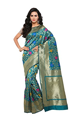 FourCorners2013 Indian Sarees for Women Wedding Designer Party Wear Traditional Blue Sari. by FourCorners2013