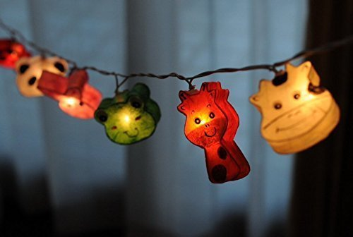 Bedroom Night Lights Cute Animal Zoo String Lights for Bedroom Decoration 20 Lights/set Set Hanging Lamp Home Decoration, Patio, Living Room, Yard & Garden Indoor and Outdoor