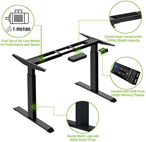 AdvanceUp Dual Motor Adjustable Electric Stand Up Office Desk Frame, with USB Charging Port, Programable Height Presets, 47 Height 63 Width, Support 220 lbs, Black, Frame Only