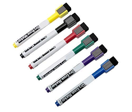 Magnetic Dry Erase Markers Non Toxic with Erasers, Fine Tip, Assorted Colors, 6-Count ()