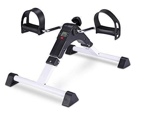 Pedal Exerciser Foot Peddler Mini Bike Foldable with LCD Monitor (White)