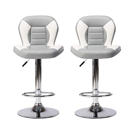 Kitchen THKSBOUGHT Set of 2 Bar Stools PU Leather Adjustable Barstools with Back Swivel Stools(Gray) modern barstools
