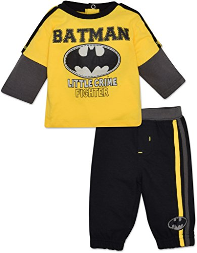 DC Comics Baby Boys' Batman Long Sleeve Shirt and Pants Set - Yellow,Little Crime - Batman Crime Fighter