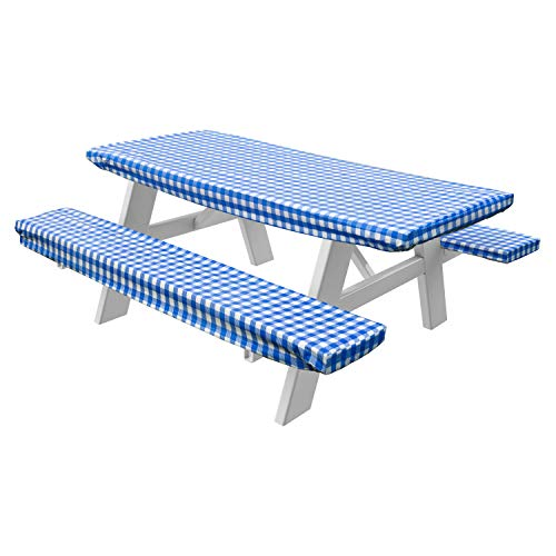 HomeCrate Checkered 72 Inch Picnic Table and Bench Fitted Tablecloth Cover, 3-Piece, Blue