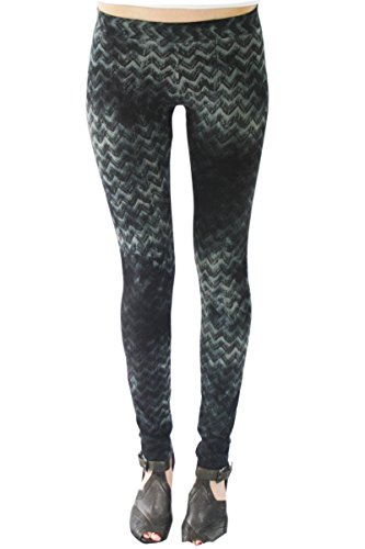 SWEET VIRTUES Women's Dignity All Over Hand Printed Chevron Cotton-Spandex Legging XS GREY-BLACK 412Z16x0NYL