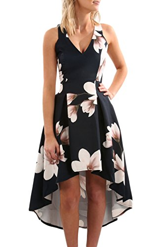 Dokotoo Womens Summer Casual Elegant V Neck Sun Floral Print Sleeveless High Low High Waist A Line Flowy Skater Midi...