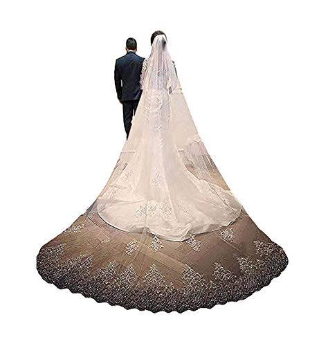 (Fenghuavip 1 T Wedding Veils Crystals Beads Lace Cathedral Bridal Veils with Rhinestones (Ivory))