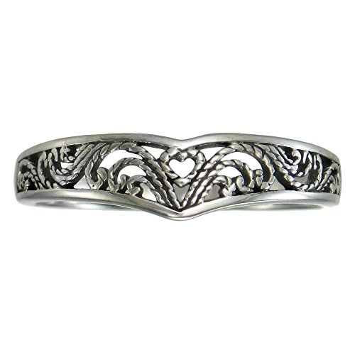 Elegant Sterling Silver Victorian Filigree Heart Ring (sz 4-15) sz 8.5 ()