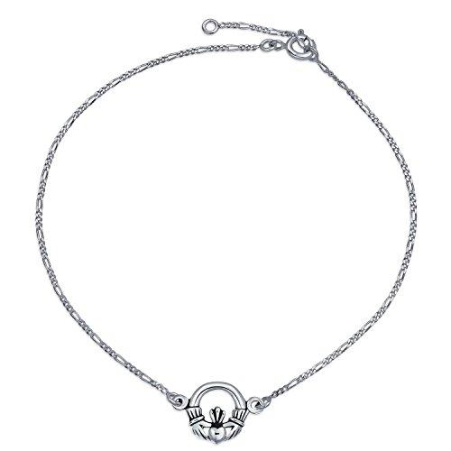 Sterling Silver Claddagh Bracelet - Celtic Claddagh Heart Anklet Figaro Chain Ankle Bracelet For Women 925 Sterling Silver Adjustable 9 To 10 Inch Extender