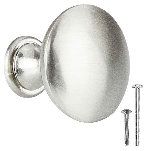 Satin Nickel Kitchen Cabinet Knobs - Round Drawer Handles - 25 Pack of Kitchen Cabinet Hardware