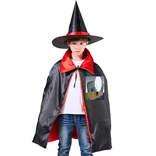 One of my Halloween Spider Halloween Shawl and Witch Hat for Children Kids Red -