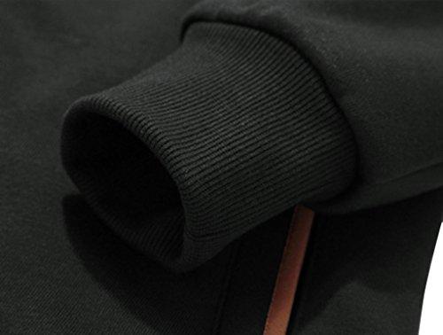 con Botón Negro Sudadera Chaqueta con Wantdo de para Hombres Capucha wgFt8B7Uq