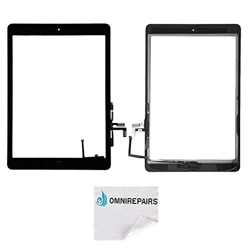 Omnirepairs-For Black iPad Air (iPad 5) 1st Generation Glass Touch Screen Digitizer Assembly Replacement with Home Button Flex, Rubber Gasket, Camera Bracket and Pre-installed Adhesive Tape by Omnirepairs