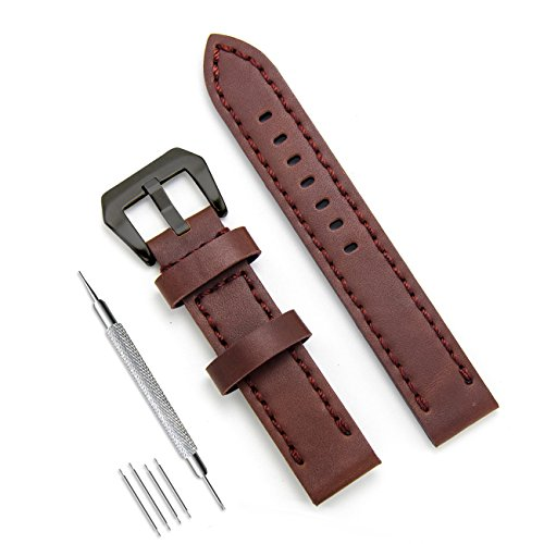 MEGALITH Genuine Leather Watch Band 20mm 22mm 24mm Leather Watch Strap Top Calf Grain Watch Bands for Men and Women (20mm, Dark Brown(Black Buckle)) - Grain Ladies Watch Band