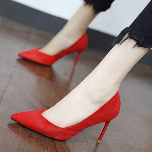 YMFIE Moda Europea señaló Temperamento Stiletto Sexy tacón Alto señoras Zapatos de la Boda Solo Zapatos A