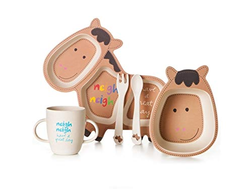 Bamboo Fiber Cartoon Pony Dish Children Plate Fork Spoon Cup Set for Kids Toddler Children ()