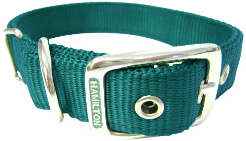 Hamilton Double Thick Nylon Deluxe Dog Collar, 1-Inch by 18-Inch, Dark Green