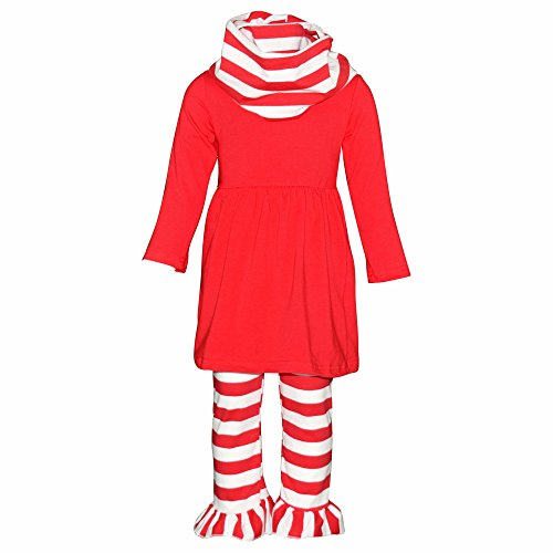 Unique Baby Girls 3 Piece Matching Striped Legging Set (7) Red