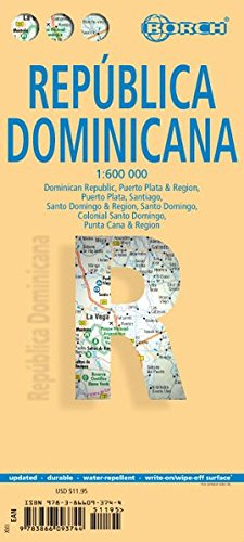 Laminated Dominican Republic Map by Borch (English, Spanish, French, Italian and German Edition) - Dominican Republic Map