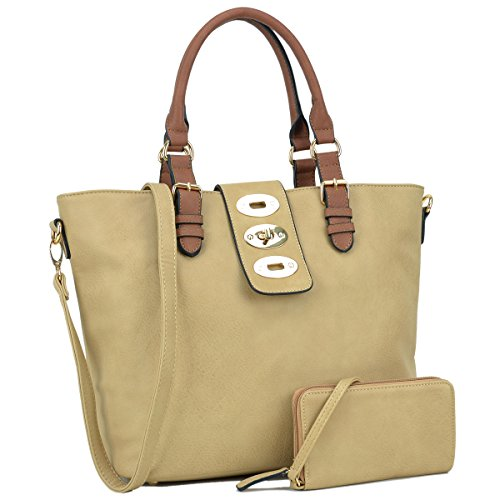 Dasein Womens Large Designer Tote Satchel Laptop Bag Fashion Handbag Shoulder Bag (Belted Laptop Tote)