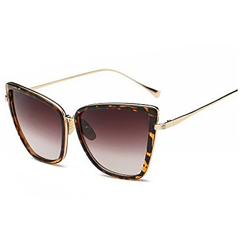 Men Women Oversized Cat Eye Sunglasses Kaimao Retro Metal Frame Sun Glasses with Case and Cloth - Leopard - Fitting Face To Your Sunglasses