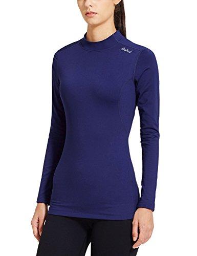 Baleaf Women's Fleece Thermal Mock Neck Long Sleeve Running Shirt Workout Tops Navy Size XS Race Thermal