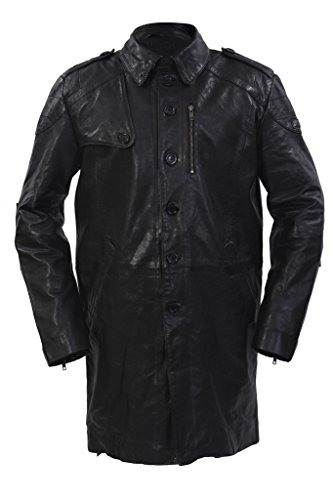 (Infinity Men's Long Military Soft Distressed Black Leather Trench Coat 2XL)