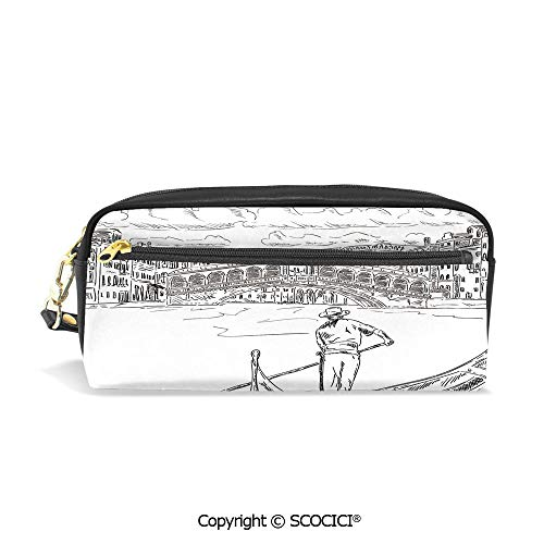 Fasion Pencil Case Big Capacity Pencil Bag Makeup Pen Pouch Rialto Bridge with Gondola Romantic Italian Landmark Inspired Sketchy Cityscape Decorative Durable Students Stationery Pen Holder for