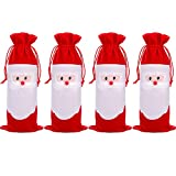 4 Pieces Christmas Red Wine Bottle Covers Santa Claus Bottle Bag with Drawstring for Christmas Party Supplies
