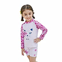 Kingswell Toddlers Swimsuit Two-Piece Girls Bathing Suit Quick Drying UPF 50+ UV Sun Protective Long Sleeve Child, PinkPurple