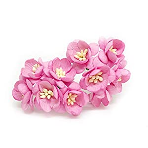 "1"" Pink Cherry Blossom Flower Artificial Flowers Paper Flowers Synthetic Flowers Fake Flowers Paper Craft Flowers Mulberry Paper Flowers Wedding, 25 Pieces 34"