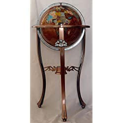 Unique Art 36-Inch by 13-Inch Floor Standing Amberlite Gemstone World Globe with Copper Tripod Stand