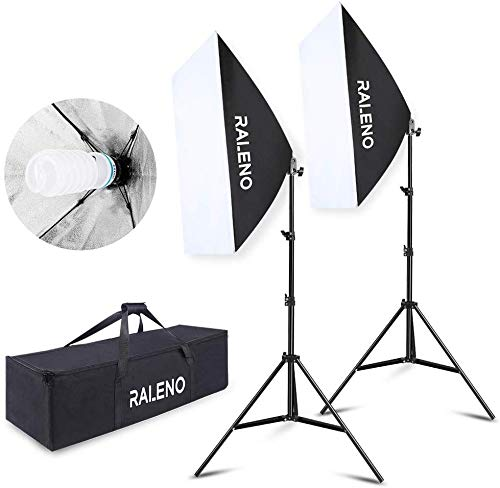 "RALENO Softbox 20""x28"" Photography Lighting Professional Photo Equipment with 85W E27 Socket 5500K Video Light Bulb…"