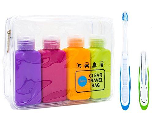 Clear TSA Approved Carry-On Toiletry Bag Set + 4 leak proof refillable Travel Bottles + 2 Travel Folding (Refillable Travel Toothbrush)