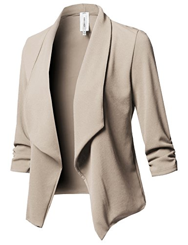 Stretch 3/4 Gathered Sleeve Open Blazer Jacket New Khaki S