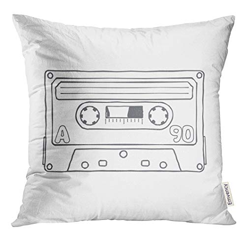 Emvency Throw Pillow Cover Retro Black and White Compact Tape Cassettes Graphics Advertisements Stickers Labels Templates Music Decorative Pillow Case Home Decor Square 16x16 Inches Pillowcase Audio Cassette Label Template