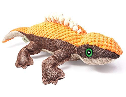 MigooPet Durable Doy Toys for Aggressive Chewers Funny Dog Squeaky Toys Stuffed Plush Pet Toys Tough Dog Chew Toys for Small Medium Large Breed Dogs - Lizard, 15