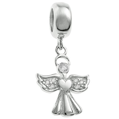 Rhodium-plated Sterling Silver Clear Cubic Zirconia Angel European Style Dangle Bead Charm by Queenberry