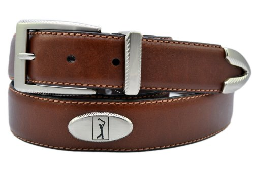 [PGA TOUR Leather Concho Golf Belt 34 Brown] (Golf Concho Belts)