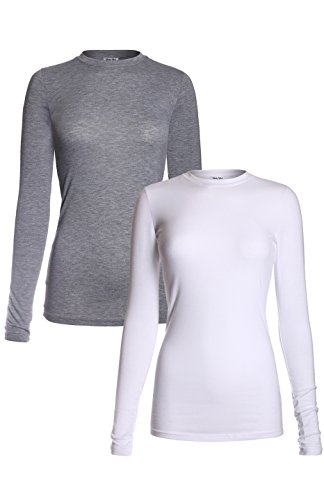 MedPro Women's Medical Scrub Solid Long Sleeve Undershirt Multi Pack ASTD:White,Heather Gray 2XL