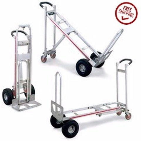 "MAGLINER Aluminum 3-Position Hand Truck - 10"" Full-Pneumatic Tires"