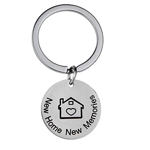 New Home Keychain New Memories Keychain First Home Gift Housewarming Gift Realtor Closing Jewelry Key Chain Gifts - House Shaped Key Ring