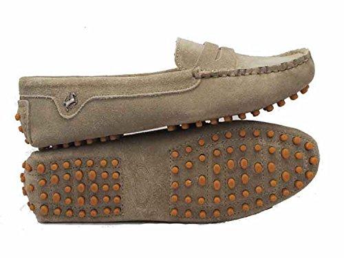 Minitoo comfortt Casual pour femme en cuir véritable à Chaussures bateau pour extérieur Multicolore - Gris - Khaki, 38.5